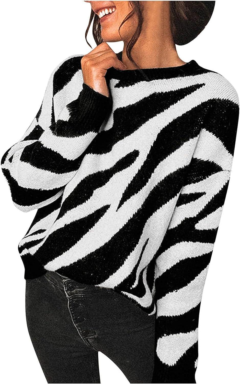 Sweaters for Women Trendy Zebra Stripe White Black Knit Tops Autumn New Loose Pullover Blouses Jumper