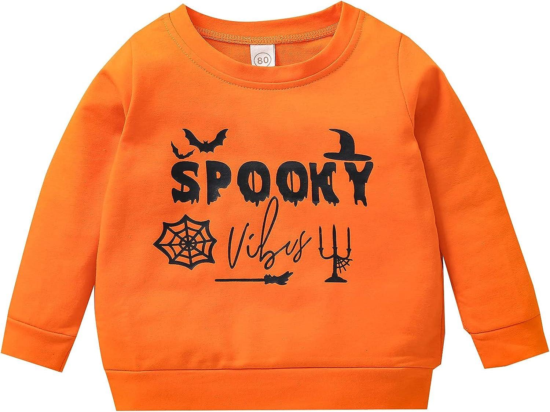 Little kids Toddler Baby Boy Girl Halloween Pumpkin Sweatshirt Long Sleeve Pullover Hooded Tops Shirt Tee Fall Clothes