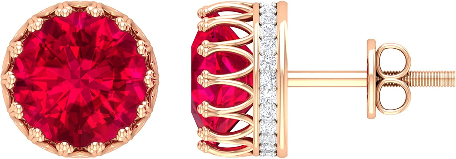 2.75 CT Created Ruby Solitaire and Diamond Stud Earrings with Crown Setting,14K Rose Gold,Lab Created Ruby