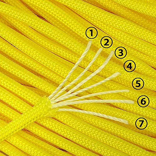 XIAONAN Paracord 550 - Cuerda de paracaídas (31 m, nailon resistente, 4 mm, para exteriores, con cierre de clic), color amarillo fluorescente