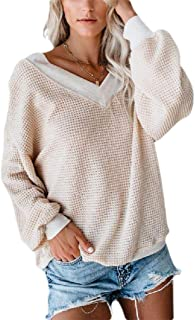 FXLM Women Lounge Solid Color Baggy Waffle V Neck Long Sleeve Tops Blouses