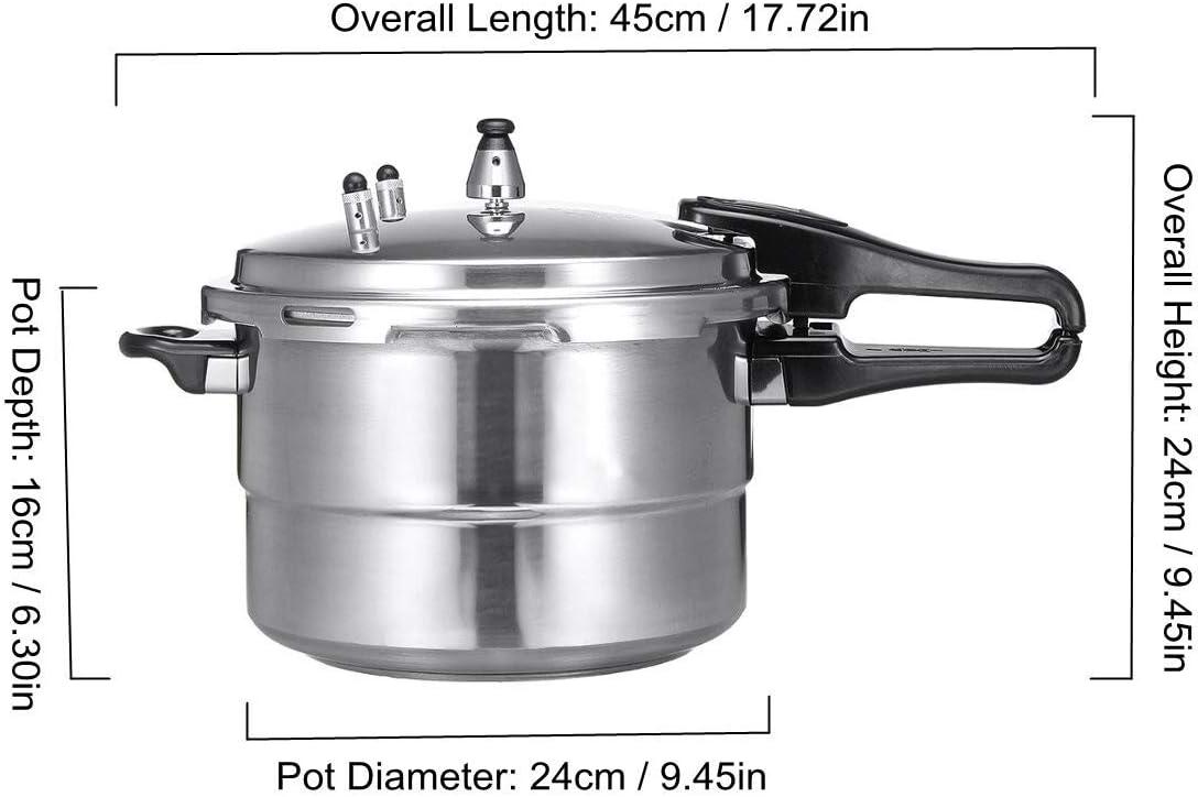 HEIFENGMUMA Crisp en Alliage d'aluminium de Cuisine Autocuiseur gaz Cuisinière économie d'énergie Protection de sécurité for l'induction Cuisinier (Color : Silver) Silver