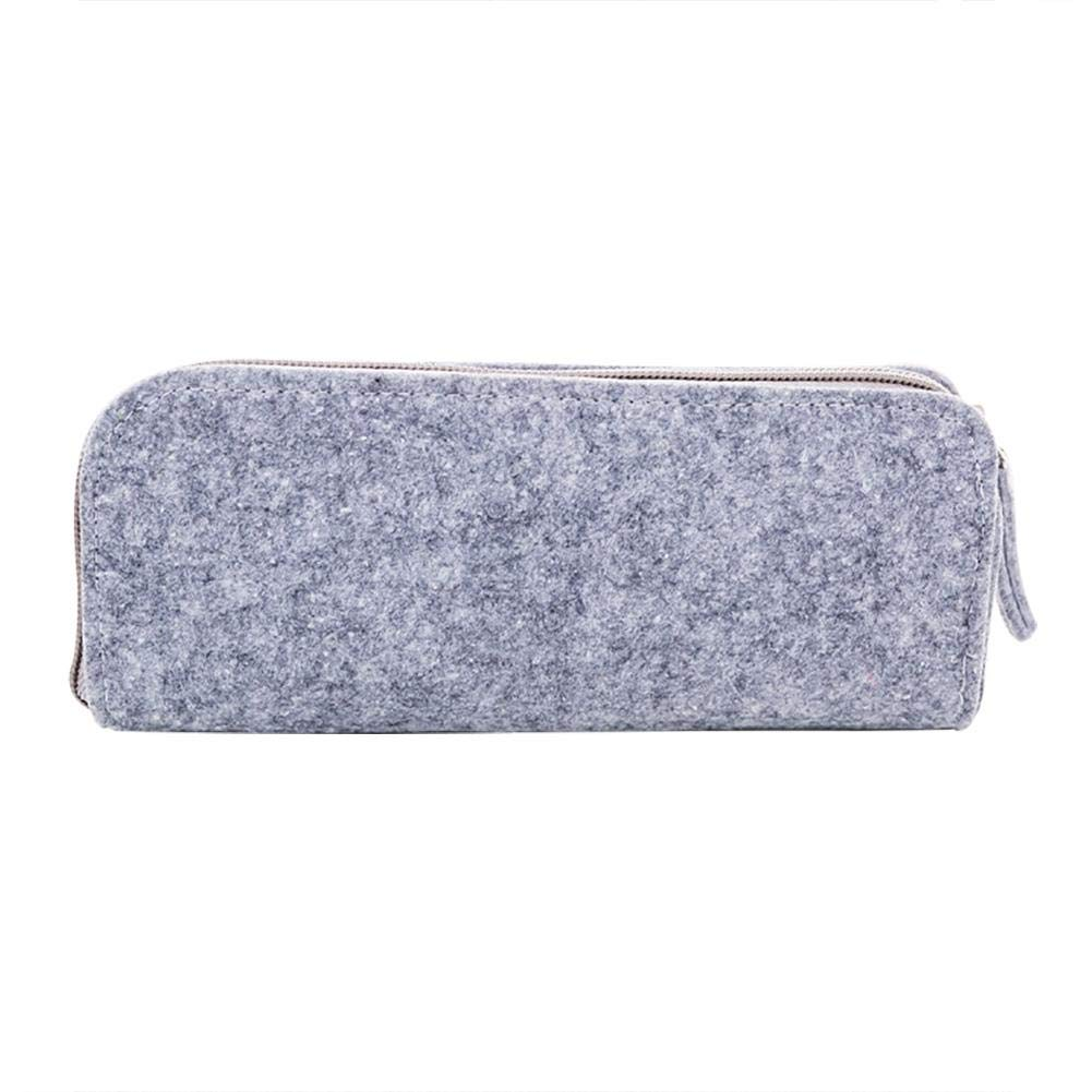 Minsa - 1 estuche creativo de fieltro de color sólido de gran capacidad para bolígrafos, bolsa de papelería para niños y niñas, color gris 20.8 * 8.5cm: Amazon.es: Oficina y papelería