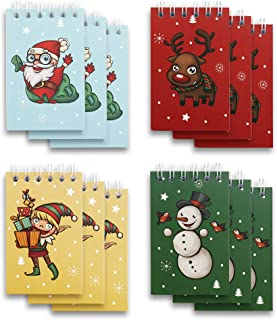 VGOODALL Mini Spiral Notepads,12pcs Mini Notebooks Christmas Themed Spiral Memo Pads Steno Notepads Great Gift Bag Stuffers Party Favors for Kids Party Christmas Celebration