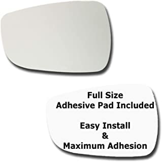 Mirror Glass + Full Size Adhesive Pad for 2011-2014 Hyundai Accent Driver Side Replacement (2011 2012 2013 2014)