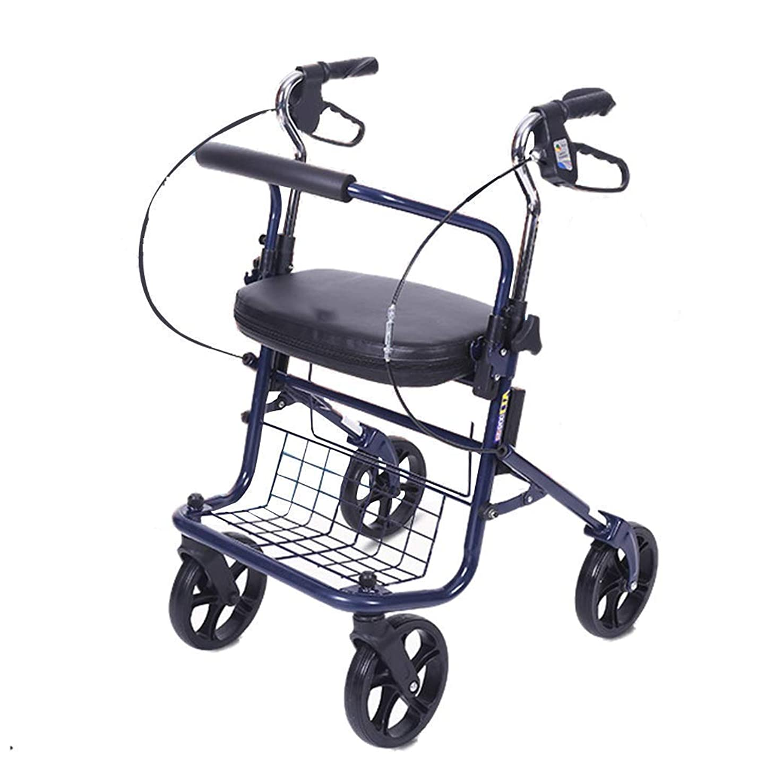 苦台無しに延ばす実用的なローラーウォーク、高齢者用の折りたたみ式ショッピングトロリー、シートと両手ブレーキ、収納バスケットとフットペダルを装備、ウォーキングやショッピングに最適