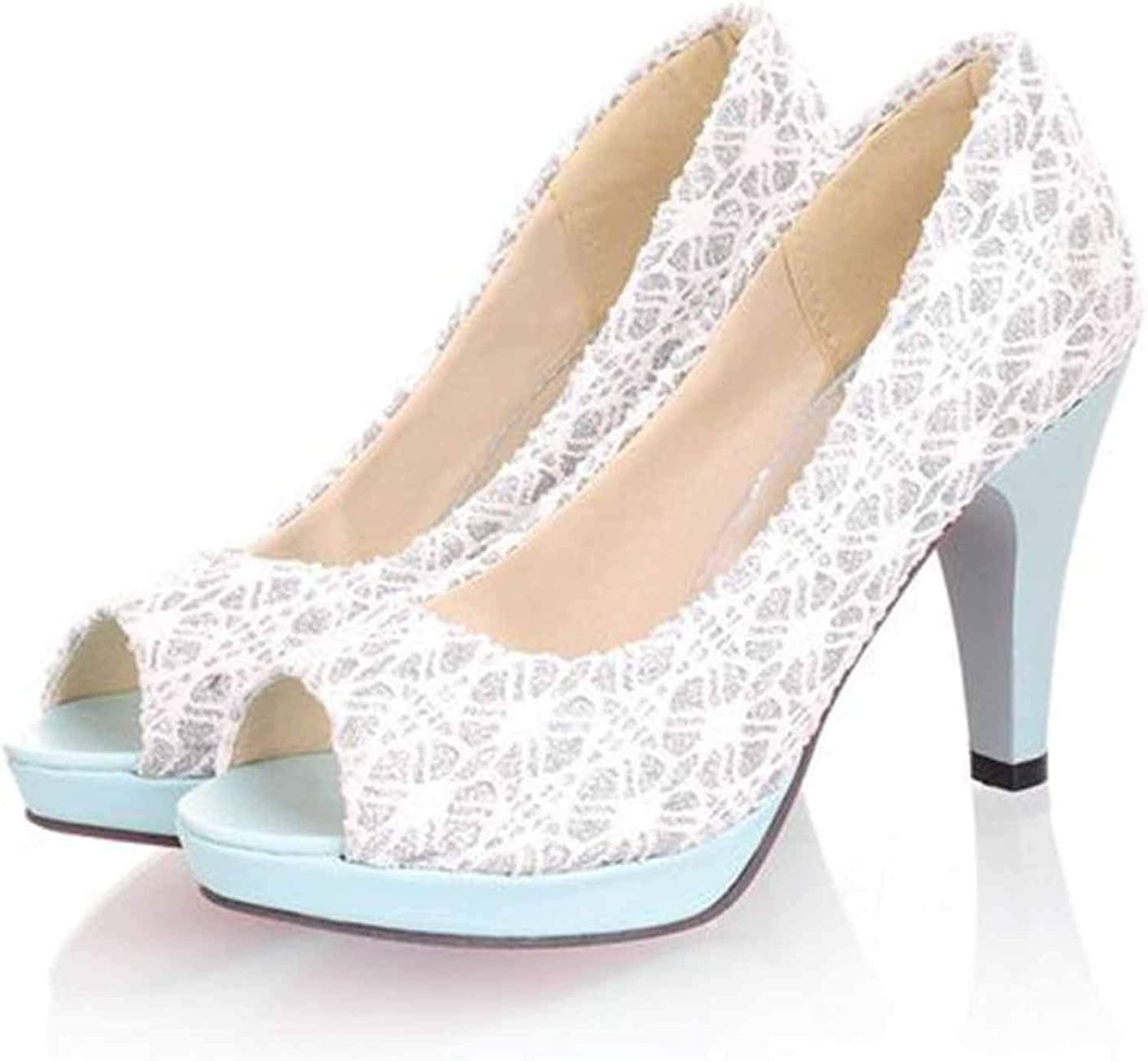Lace Women shoes High Heels Peep Toe Ladies shoes 31-43 Spring Summer Party Pump
