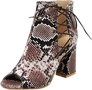 Padaleks Women's High Heels Sandals Comfy Ankle Boots Lace up Open Toe Chunky Wedding Dress Shoes with Snake Pattern