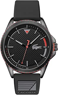 Lacoste Men's Cap Marino Stainless Steel Quartz Watch with Silicone Strap, Black, 22 (Model: 2011029)