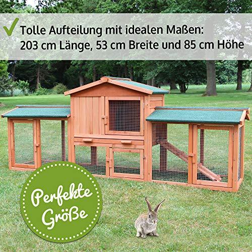 zooprinz großer Hasenstall 2020 - aus edlem massiven Vollholz ideal für draußen - Einfach zu reinigen Dank der Kotschublade - Kleintierstall mit ungiftiger Farbe gestrichen