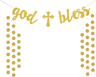 Topfun Cross Gold Bless Banner Gold Glitter Bamptism Garland for Baptism Communion Party Christening Wedding Baby Shower Christmas Decorations with 2 Pack Gold Circle Dots Garland