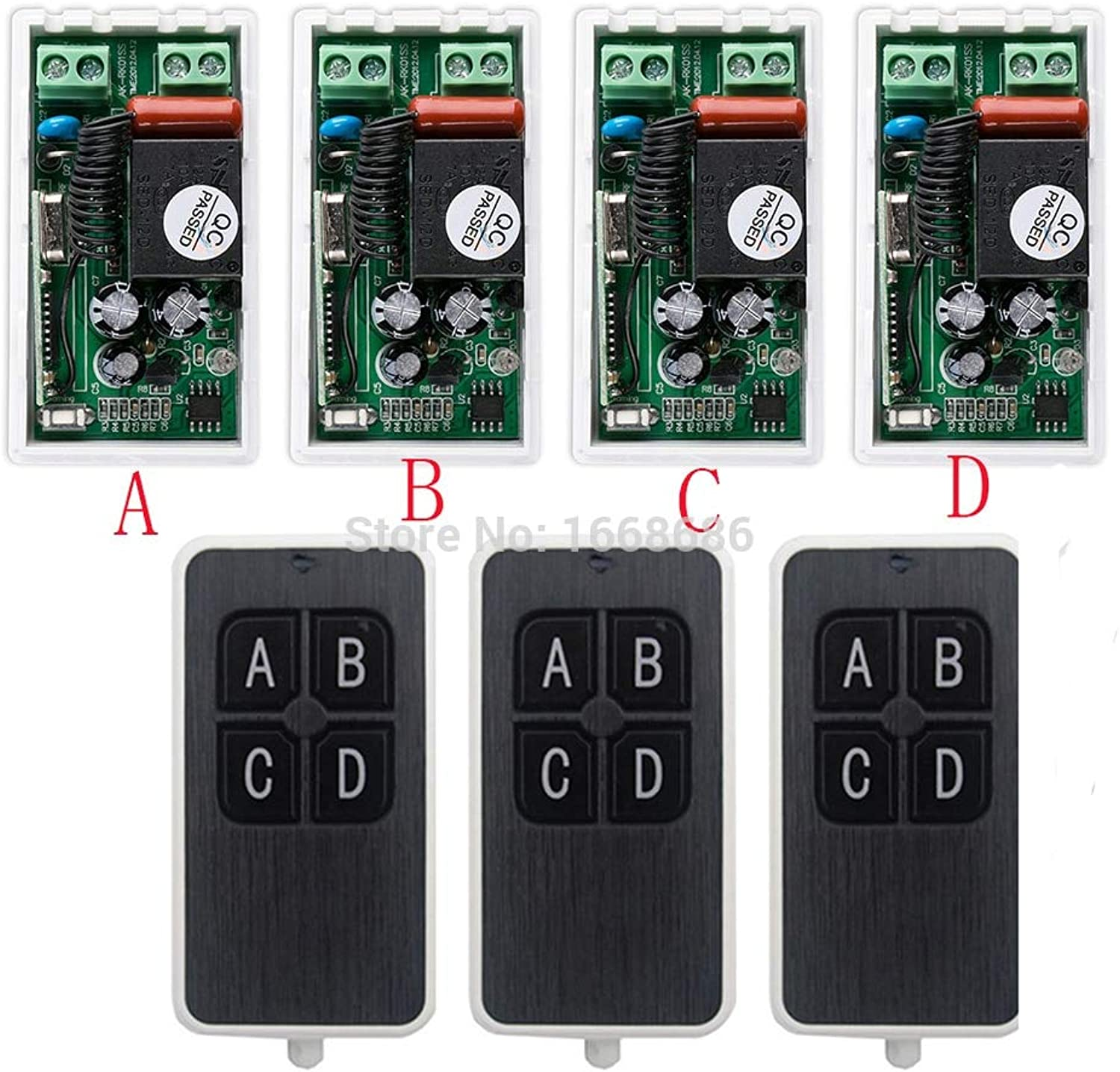 Most Simple Wiring AC220V 1CH 10A Wireless Remote Control Switch System 3X Transmitter + 4X Receiver Relay Smart House zWave
