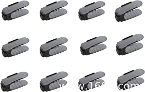 Shoe Slots Organizer Double Layer Height Adjustable Free Standing Plastic Space Save Storage Units 50% 12 Pack Space Saver for Shoe Rack Closet Cabinet Black