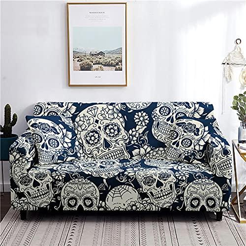 Fundas Sofas 3 y 2 Plazas Ajustables Crema De Calavera Azul Oscuro Fundas para Sofa Elasticas Spandex Fundas Sofa Lavables Desmontables Funda Sillon Modernas Universal Espesas Fundas de Sofa