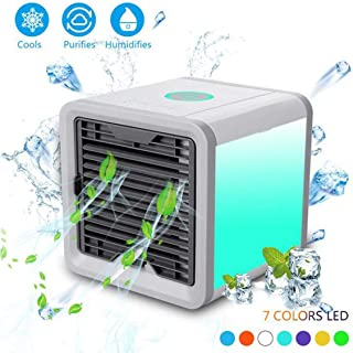 Gutsbox Air Mini Cooler Aire Acondicionado Portátil, Enfriador USB Aire Acondicionado 3 en 1 Ventilador Purificador Humidificador, 7 Colores, 3 Velocidades Ajustable para Hogar Oficina - 2019 Nuevo