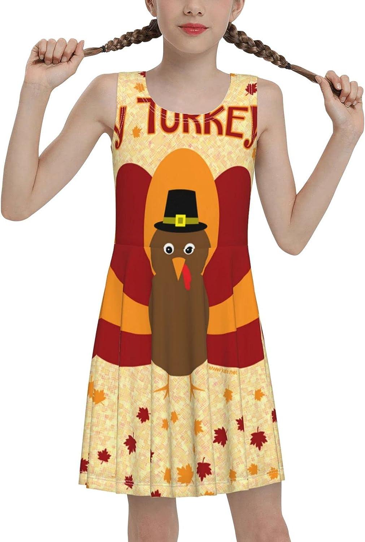 SDGhgHJG Happy Turkey Day Sleeveless Dress for Girls Casual Printed Lightweight Skirt