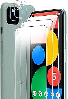 """ELYCO [3+2 Pièces pour Google Pixel 5 5G 5.8'' Verre Trempé + Caméra Arrière Protecteur, [Pas pour Pixel 4a 5.8""""] 9H Duret..."""