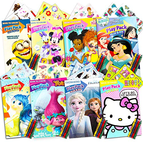 Ultimate Girls Party Favors Play Packs - Bundle Includes 8 Packs with Stickers, Coloring Books, Crayons and More