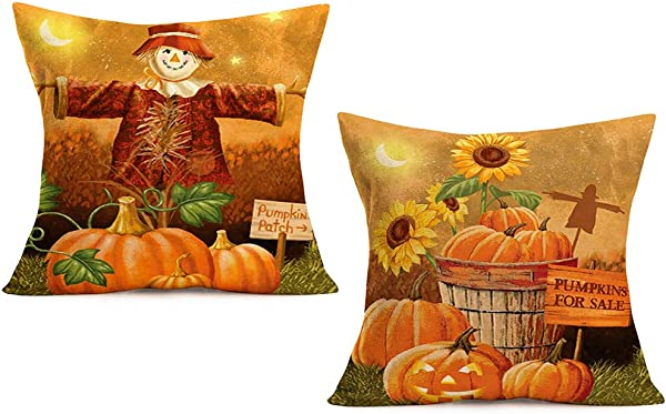 ShareJ Fall Pumpkin Patch Pumpkins For Sale Throw Pillow Cover Autumn Quotes Cushion Case Scarecrow Sunflower Night Starry Sky For Sofa Couch 18 X 18 Inch Cotton Linen Set Of 2