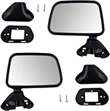 Pair Set Manual Side View Door Skin Mounted Textured Mirrors Replacement for Toyota Pickup Truck w/vent window 8794089141 8791089143
