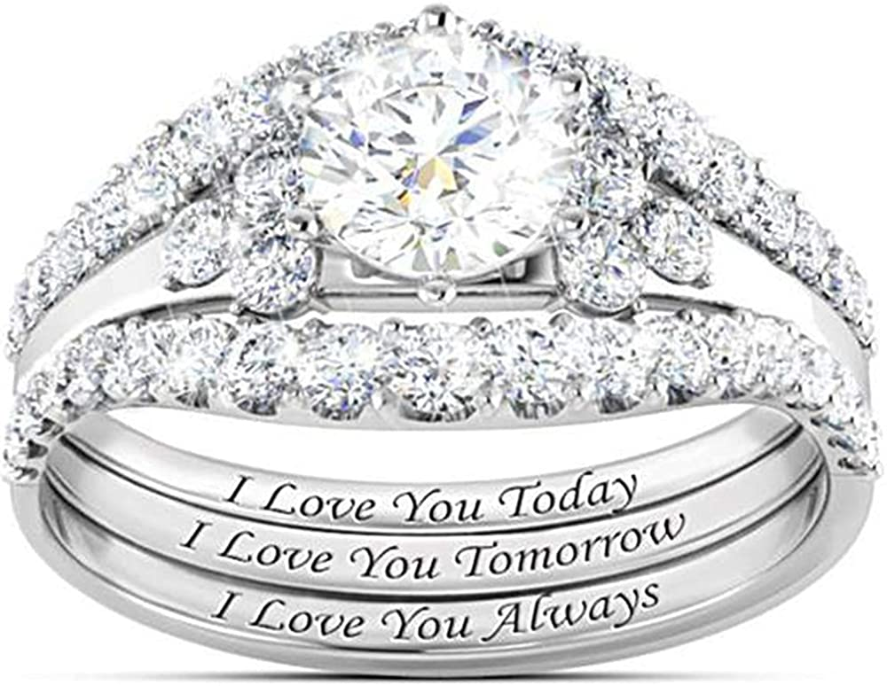 White Gold Plated Three in One Wedding Engagement Halo Bridal Ring Set