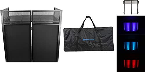 Rockville ROCKBOOTH DJ Event Booth Facade w/Built in Table+Travel Bag+Scrims