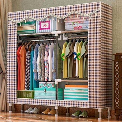 LyMei Stoffschränke, Wardrobe Storage Portable Kleidung Wardrobe Storage Organizer mit Hängenden Rod, 25mm Edelstahl Feuchtigkeitsdichten Reißverschluss Tuch Kleiderschrank,E_150*47 * 170CM