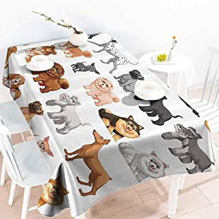 Creative Rectangle Tablecloth Dog Lover Decor Collection Different Type of Dogs Small and Big Dalmatian Golden Fur Fluffy Faithful Creature Brown Gray Buffet,Parties,Holiday Dinner,Picnic 70x102