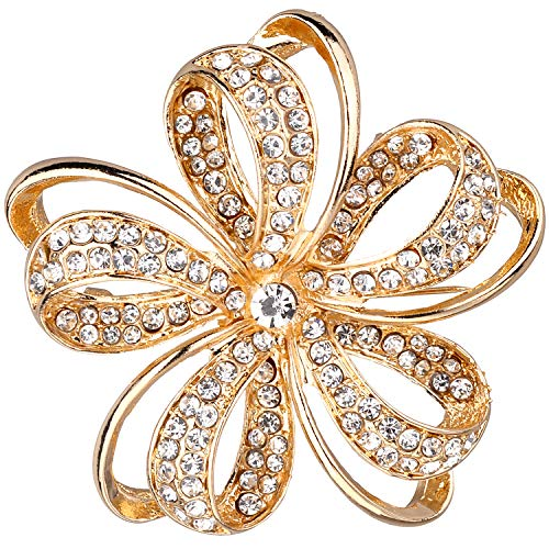 Jones New York Gold Twisted Petals Flower Crystal Rhinestones Brooches and Pins