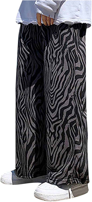 Straight Pants for Men Stretch Fashion RetroLeopard Prints Wide Leg Trend Pants for Streetwear Beach Sports