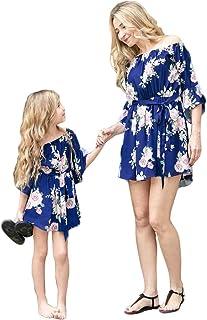 Loalirando Madre e Figlia Abiti Estivi a Strisce Multicolore Abiti Famiglia Senza Spalline Vestito Principessa Bambina//Vesti Donna Eleganti