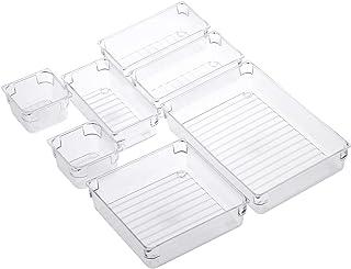Boîte de rangement de tiroir de 7 pièces organisateur de maquillage de compartiment acrylique, plateaux de rangement de co...