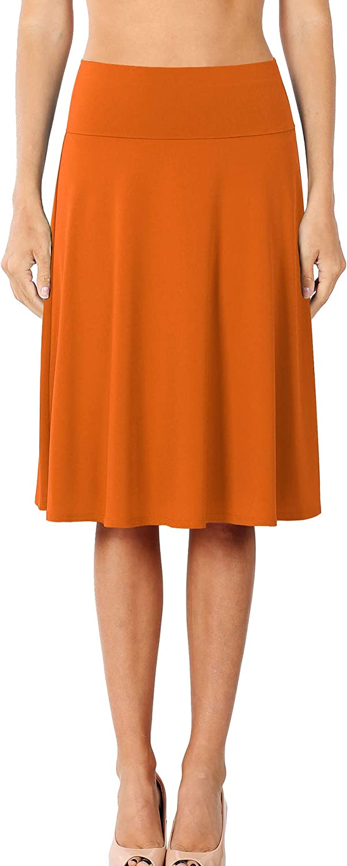 Nolabel Women's Basic Knee Length Skirts Comfort Elastic Fold Over Waist Band Ponte Pencil Flared