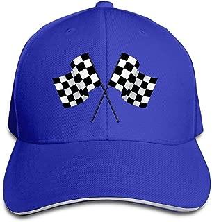 AUCAMP Checkered Flags Race Car Flag Pole Adjustable Sandwich Peaked Baseball Hat
