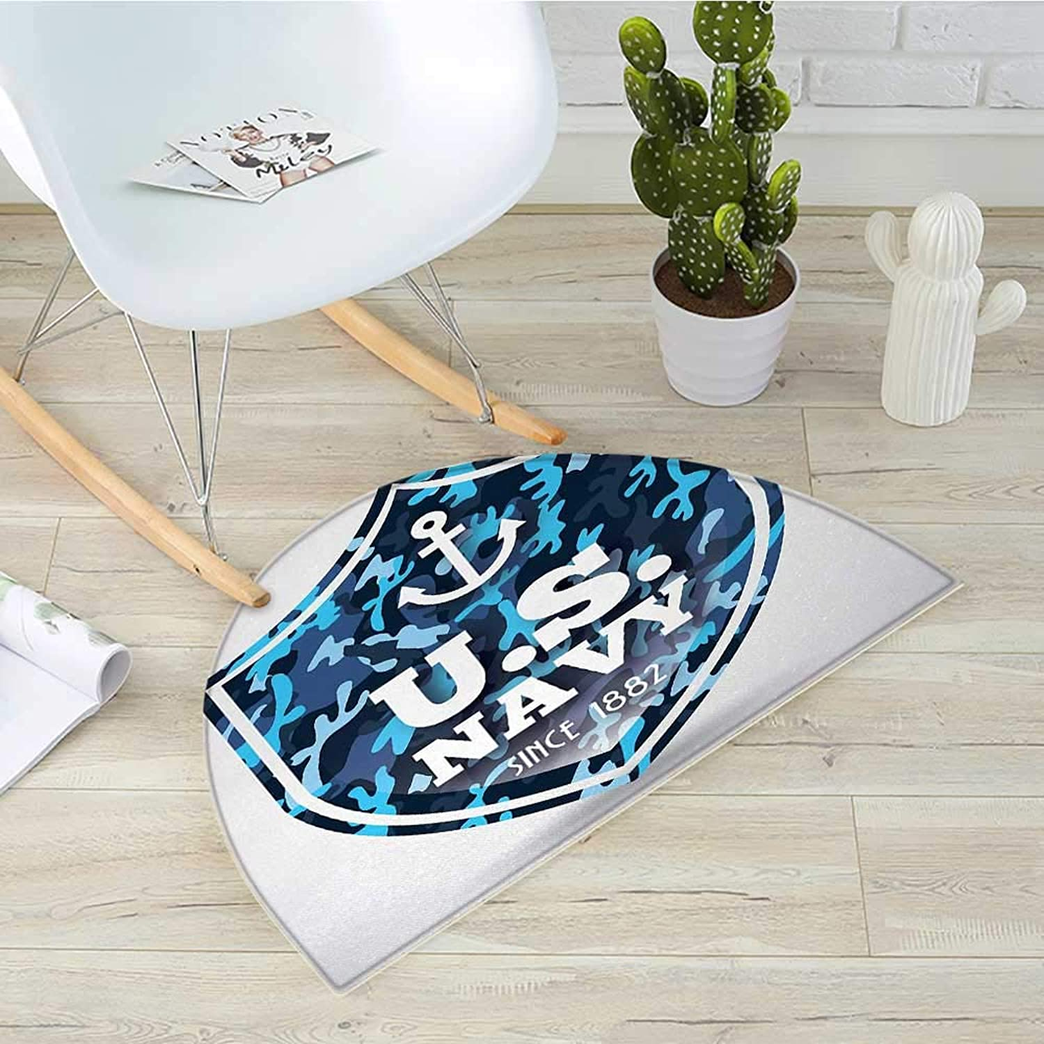 Anchor Semicircular CushionMilitary Camouflage with US Navy Since 1882 Uniform Army Force Ship Entry Door Mat H 39.3  xD 59  bluee White Navy bluee