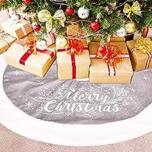 Falda del árbol de Navidad, Alfombra del árbol de Navidad, Blanco Felpa Faldas para el árbol, Alfombra de Adorno de árbol de Navidad, Faldas de árbol, Decorada para Navidad (Impresión Gris)