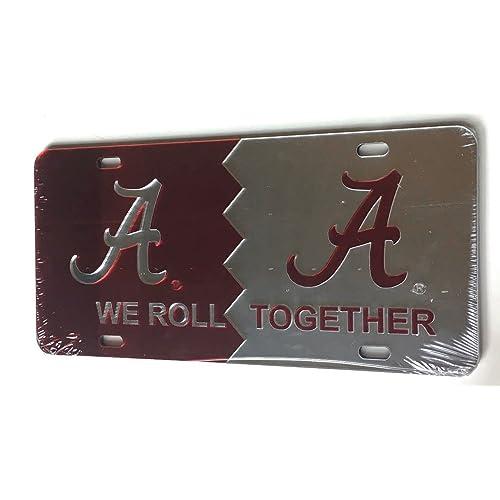 """UNIVERSITY OF ALABAMA CRIMSON TIDE /""""We Roll Together/"""" License Plate Car Tag"""
