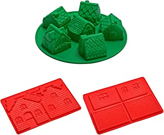 Gingerbread House Silicone Baking Kit Non Stick - Gingerbread Man House and Chocolate Mini House Molds Mini Village 3 Piece Baking Set