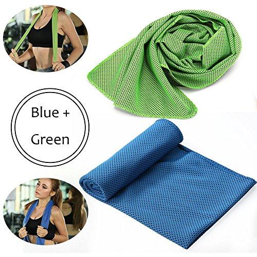 Lememogo asciugamano in microfibra evaporazione raffreddamento asciugamano per sport, allenamento, fitness, palestra, yoga, pilates, viaggi, campeggio, corsa, escursioni e altro, Blue + Green