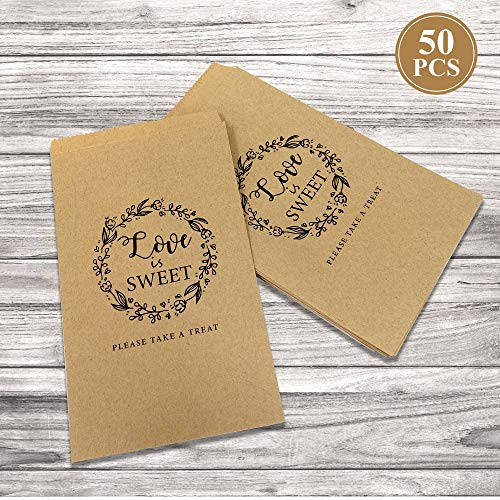 50Pcs Wedding Favors Candy Buffet Bags - Brown Kaft Paper Wedding Favor Rustic Bags Good for Treat Snacks or Cookie Buffets - Please Take A Treat