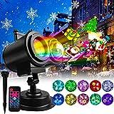 Luces de proyector de Navidad,YINAMA Impermeable Exterior Decoración Luz de Proyector de luz LED con Control Remoto y 18 Diapositivas de Patrón para Fiesta, Navidad