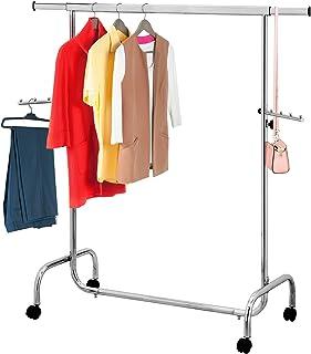 Tatkraft Falcon, Portant Robuste pour Vêtements en Acier, Penderie sur 4 Roues, Réglable en Largeur (105 à 176cm) et Haute...