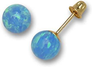 Solid 14K Yellow Gold Blue, White, Green, Pink Simulated Opal 6mm Ball Post Stud Screw-back Earrings for women