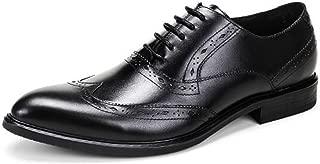 (TM Men's Leather Derby Shoes Lace-up Winklepickers Pointed Toe Dress Shoes (37 M EU, Black)