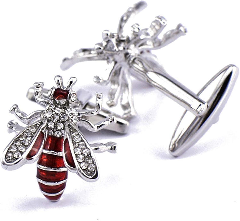 Daesar Cuff Links Copper Cufflink Shirt Bee Cubic Zirconia Cufflink and Studs Red