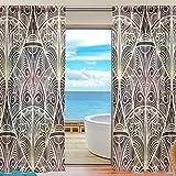 Skyda - Juego de 2 paneles de cortinas de estilo étnico para cortinas de salón (198 cm de largo), poliéster, Multicolored, 55'W x 84'L
