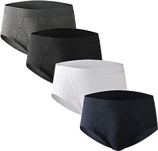 Nuofengkudu Men Open Fly Pouch Briefs Underwear High Waist Classic Slips(4 Pack)