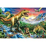 hetingyue DIY Pintar por números Set de Regalo de Mundo de Dinosaurios de Dibujos Animados Pintados a Mano, Pintura al óleo DIY para niños, Pintura sin Marco 40X30CM