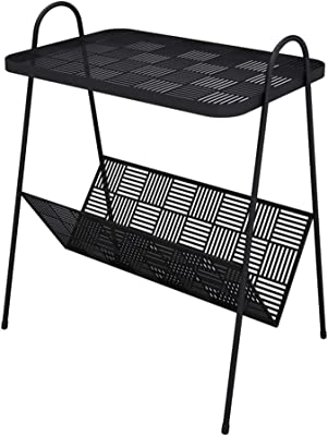 Reception Room Small Space Tables-CJiaJ Magazine Rack, Metal Creative Double Layer Side Table Cafe Beauty Shop Barbershop Storage Rack Multifunctional Coffee Table Efficient Home Tables