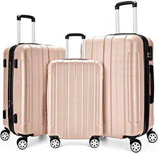 Fochier 3 Piece Expandable Spinner Luggage Set Hard Shell Lightweight Suitcase Champagne gold